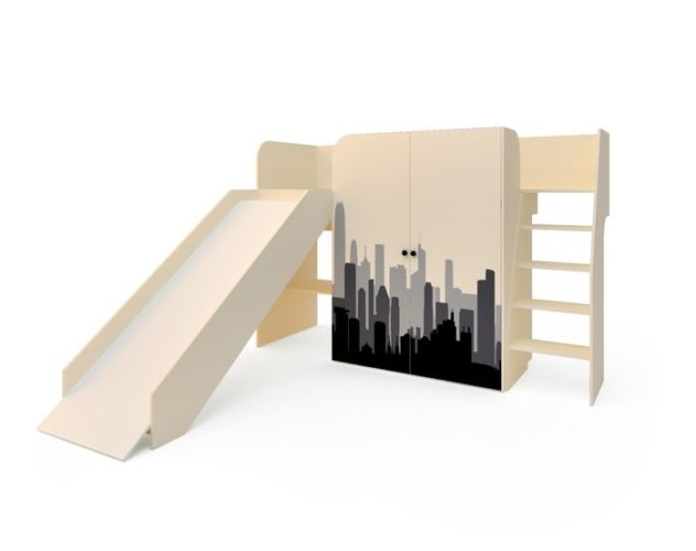 Кровать «Город» с горкой