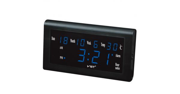 VST-795W-5 Часы электронные, синие. Большие настенные (+ блок )
