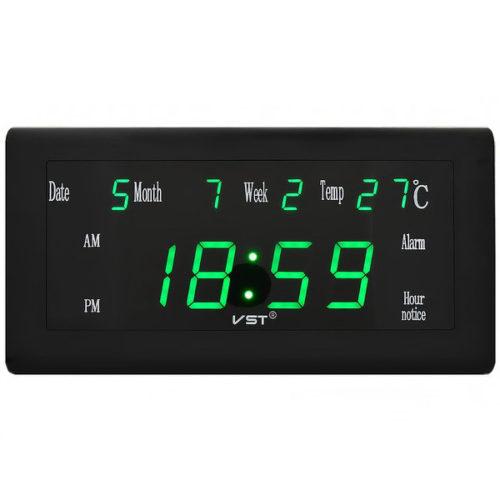 VST-780W-4 Часы электронные, ярко зеленые. Большие настенные