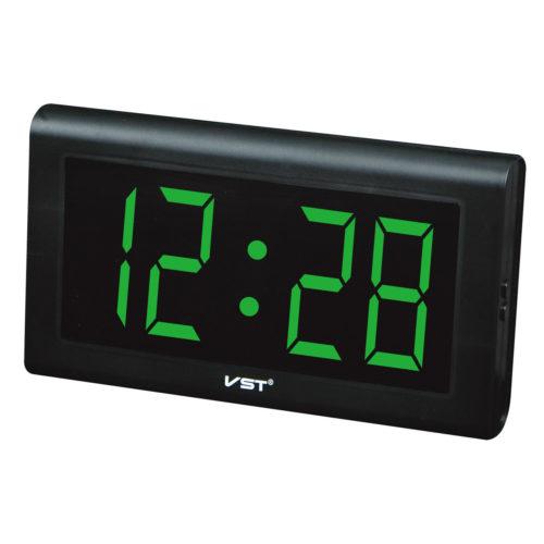VST-795-4 Часы электронные, ярко зеленые. Большие настенные