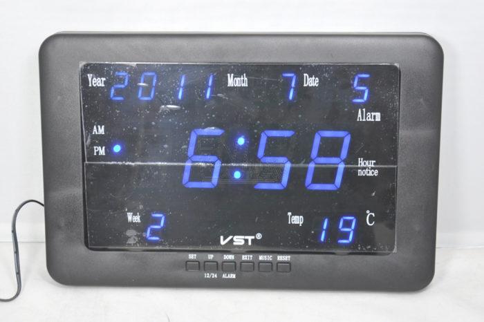 VST-802W-5 Часы электронные, синие. Большие настенные (+ блок )