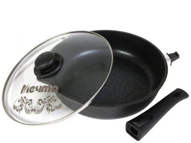 Сковорода Мечта Гранит Black 30 см с крышкой со съём/руч