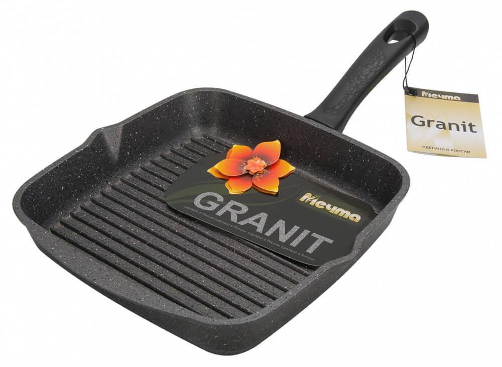 Сковорода-гриль Мечта Гранит Black 28×28 см с несъем/руч